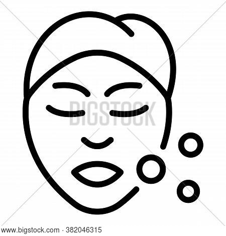 Self Care Woman Face Icon. Outline Self Care Woman Face Vector Icon For Web Design Isolated On White