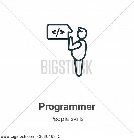 Programmer icon isolated on white background from people skills collection. Programmer icon trendy a