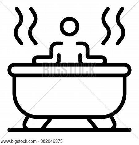 Self Care Hot Bathtub Icon. Outline Self Care Hot Bathtub Vector Icon For Web Design Isolated On Whi