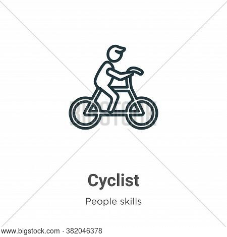 Cyclist icon isolated on white background from people skills collection. Cyclist icon trendy and mod