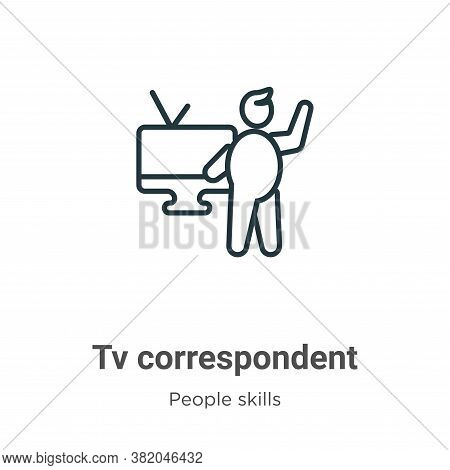 Tv correspondent icon isolated on white background from people skills collection. Tv correspondent i