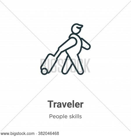 Traveler icon isolated on white background from people skills collection. Traveler icon trendy and m