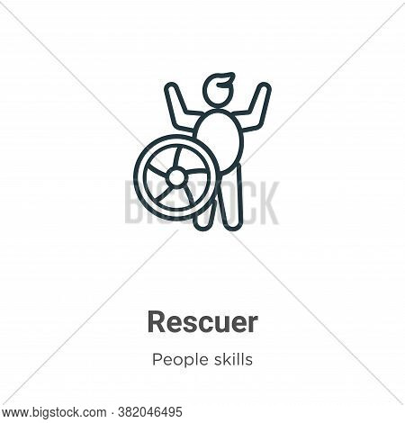 Rescuer icon isolated on white background from people skills collection. Rescuer icon trendy and mod