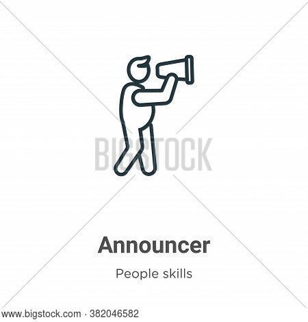 Announcer icon isolated on white background from people skills collection. Announcer icon trendy and