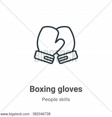 Boxing gloves icon isolated on white background from people skills collection. Boxing gloves icon tr