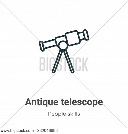 Antique telescope icon isolated on white background from people skills collection. Antique telescope