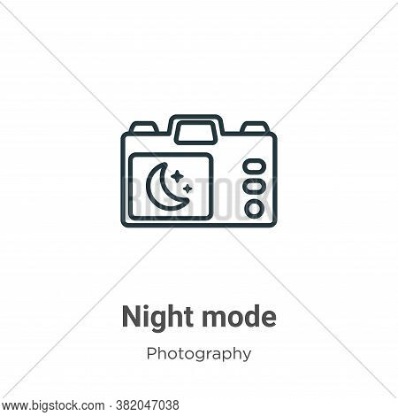 Night mode icon isolated on white background from photography collection. Night mode icon trendy and