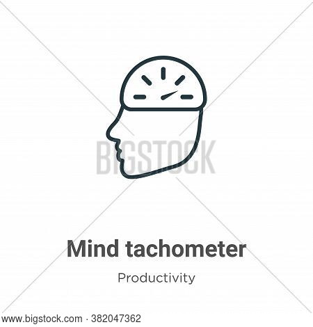 Mind tachometer icon isolated on white background from productivity collection. Mind tachometer icon