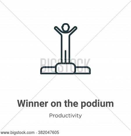 Winner on the podium icon isolated on white background from productivity collection. Winner on the p