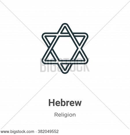 Hebrew icon isolated on white background from religion collection. Hebrew icon trendy and modern Heb