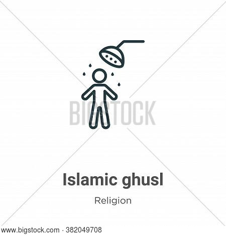 Islamic ghusl icon isolated on white background from religion collection. Islamic ghusl icon trendy