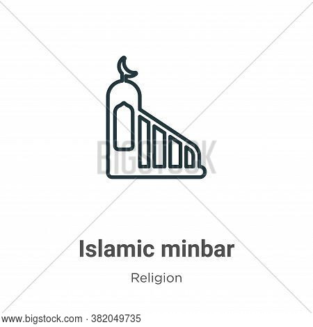 Islamic minbar icon isolated on white background from religion collection. Islamic minbar icon trend