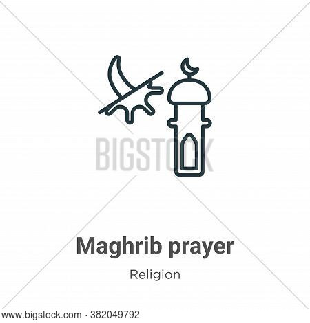 Maghrib prayer icon isolated on white background from religion collection. Maghrib prayer icon trend