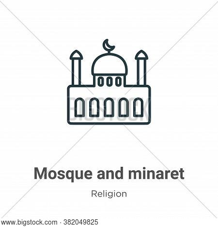 Mosque and minaret icon isolated on white background from religion collection. Mosque and minaret ic