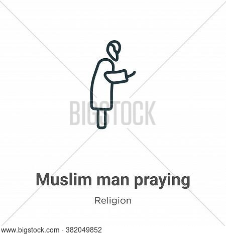 Muslim man praying icon isolated on white background from religion collection. Muslim man praying ic