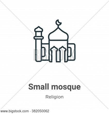 Small mosque icon isolated on white background from religion collection. Small mosque icon trendy an