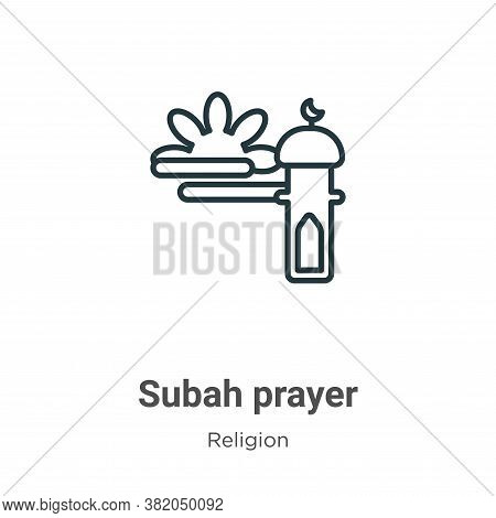 Subah prayer icon isolated on white background from religion collection. Subah prayer icon trendy an