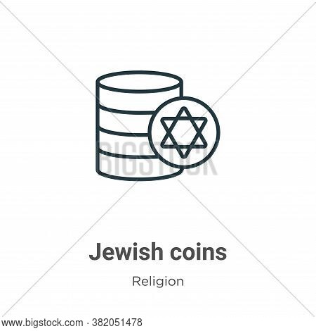 Jewish coins icon isolated on white background from religion collection. Jewish coins icon trendy an