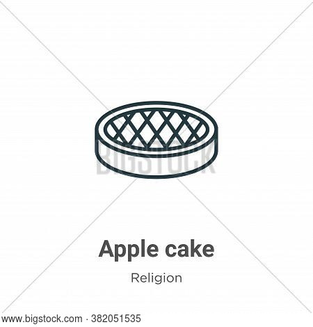 Apple cake icon isolated on white background from religion collection. Apple cake icon trendy and mo