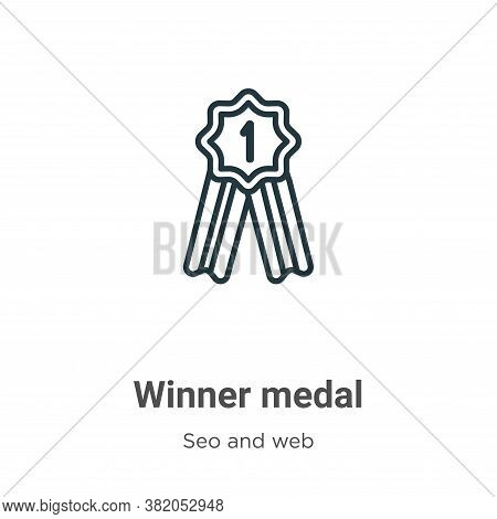 Winner medal icon isolated on white background from seo and web collection. Winner medal icon trendy