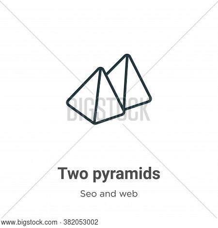 Two pyramids icon isolated on white background from seo and web collection. Two pyramids icon trendy