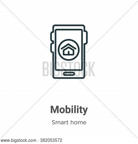 Mobility icon isolated on white background from smart home collection. Mobility icon trendy and mode
