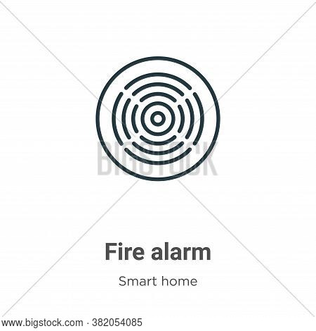 Fire alarm icon isolated on white background from smart house collection. Fire alarm icon trendy and