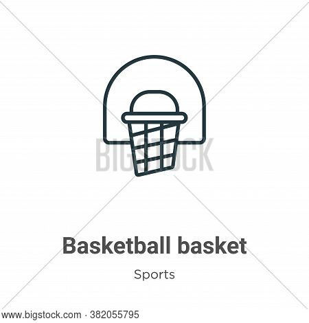 Basketball basket icon isolated on white background from sports collection. Basketball basket icon t