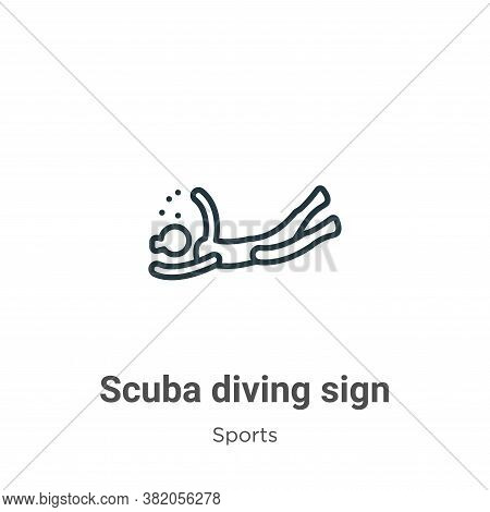 Scuba diving sign icon isolated on white background from sports collection. Scuba diving sign icon t