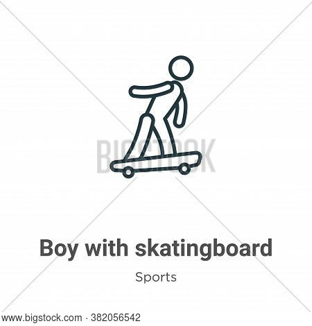 Boy with skatingboard icon isolated on white background from sports collection. Boy with skatingboar