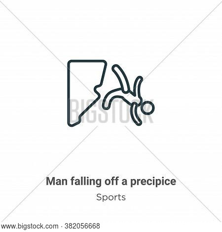 Man falling off a precipice icon isolated on white background from sports collection. Man falling of