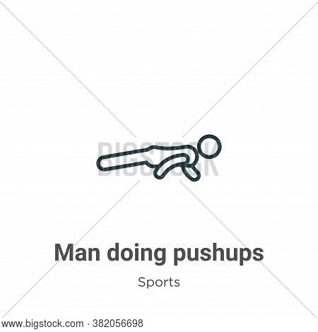 Man doing pushups icon isolated on white background from sports collection. Man doing pushups icon t