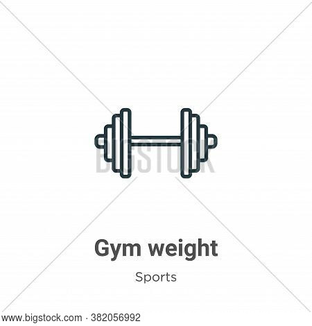 Gym weight icon isolated on white background from sports collection. Gym weight icon trendy and mode