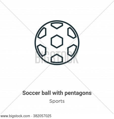 Soccer ball with pentagons icon isolated on white background from sports collection. Soccer ball wit