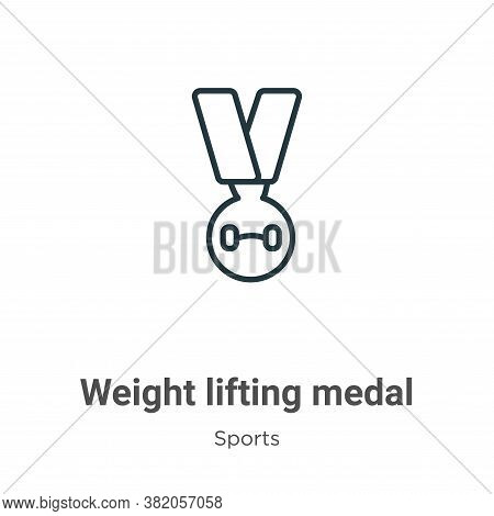 Weight lifting medal icon isolated on white background from sports collection. Weight lifting medal