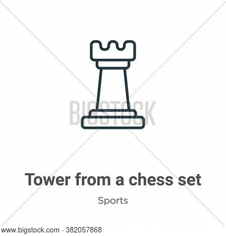 Tower from a chess set icon isolated on white background from a chess set icon from a chess set icon