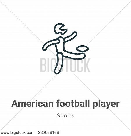 American football player kicking the ball icon isolated on white background from sports collection.