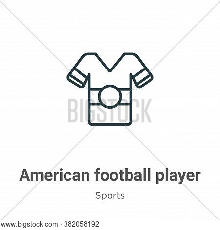 American football player black t shirt cloth icon isolated on white background from  collection. Ame