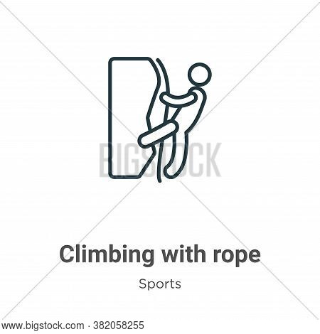 Climbing with rope icon isolated on white background from sports collection. Climbing with rope icon