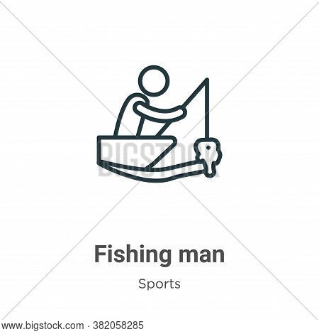 Fishing man icon isolated on white background from sports collection. Fishing man icon trendy and mo