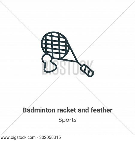 Badminton racket and feather icon isolated on white background from sports collection. Badminton rac