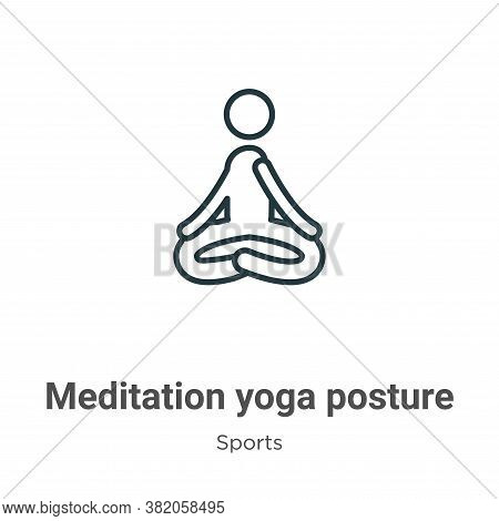 Meditation yoga posture icon isolated on white background from sports collection. Meditation yoga po