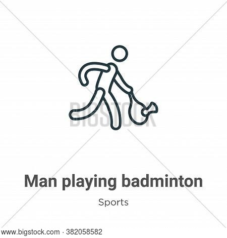 Man playing badminton icon isolated on white background from sports collection. Man playing badminto