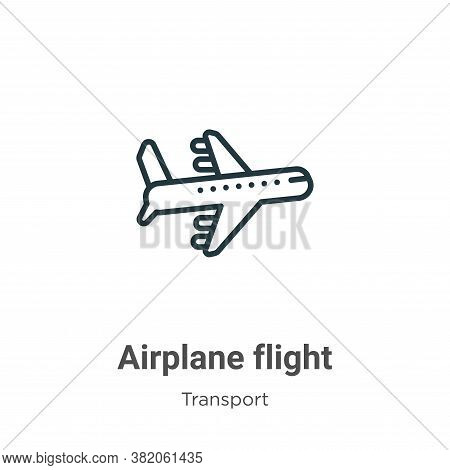 Airplane flight icon isolated on white background from transport collection. Airplane flight icon tr