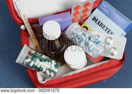 Medicine Box Kit For The Daily Care Of A Diabetic