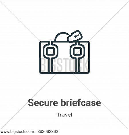 Secure briefcase icon isolated on white background from travel collection. Secure briefcase icon tre