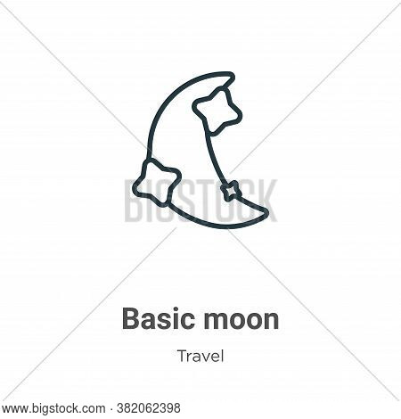 Basic moon icon isolated on white background from travel collection. Basic moon icon trendy and mode