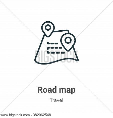 Road map icon isolated on white background from travel collection. Road map icon trendy and modern R