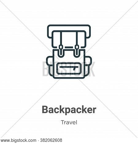 Backpacker icon isolated on white background from travel collection. Backpacker icon trendy and mode