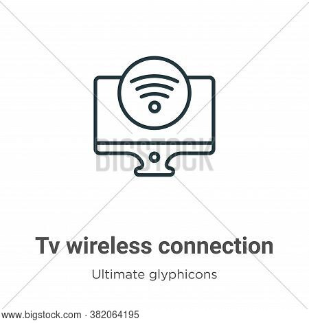 Tv wireless connection icon isolated on white background from ultimate glyphicons collection. Tv wir
